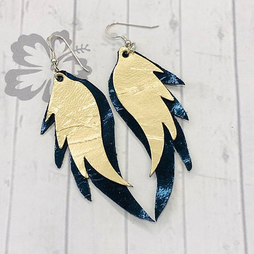 Gold Angel Wing Leather Earrings