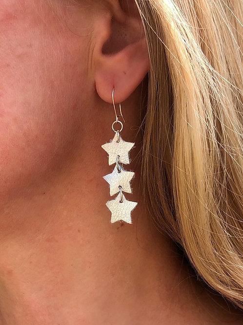 Triple Leather Star Earrings
