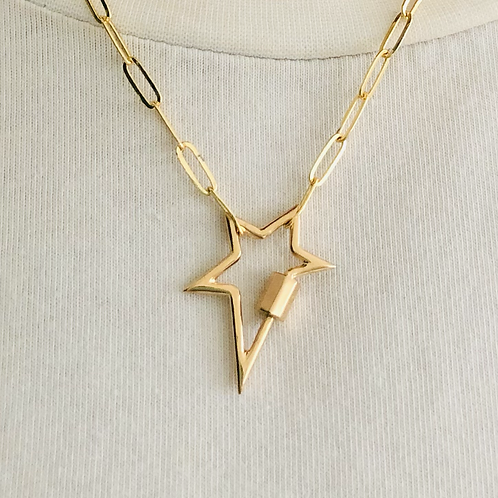 Gold Carabiner Star Pendant Necklace