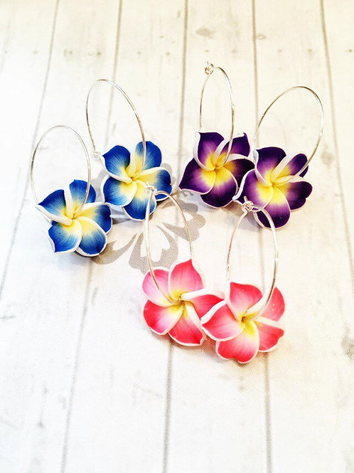 Plumeria Flower Silver Hoop Earrings