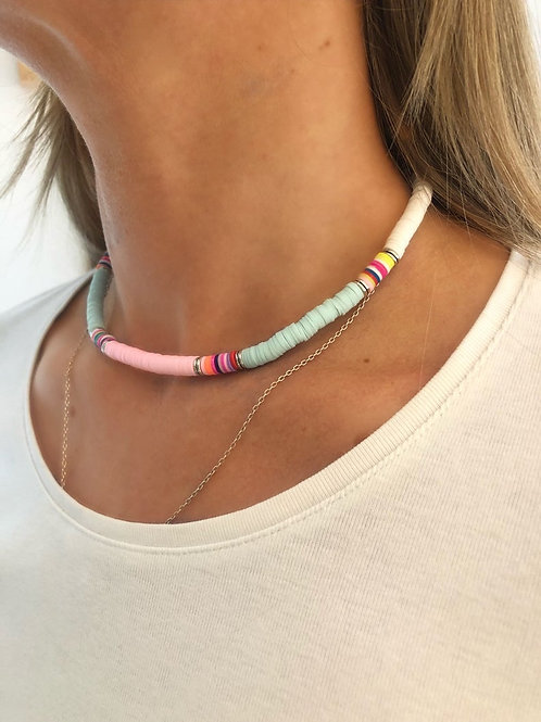 Bright Heishi Bead Necklace (White, Pale Blue & Pale Pink)