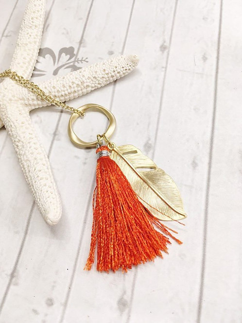 Burnt Orange Silk Tassel & Gold Feather Pendant Necklace