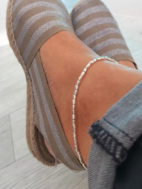 Fine Silver Rice Beads Ankle Bracelet