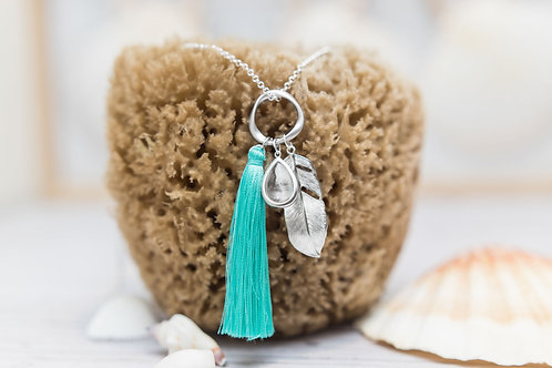Turquoise Silk Tassel, Crystal Glass Stone & Silver Feather Pendant Necklace