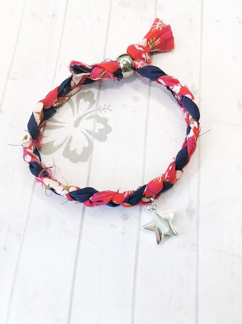 Liberty of London Mitsi Print Fabric Single Wrap Bracelet with Star Charm