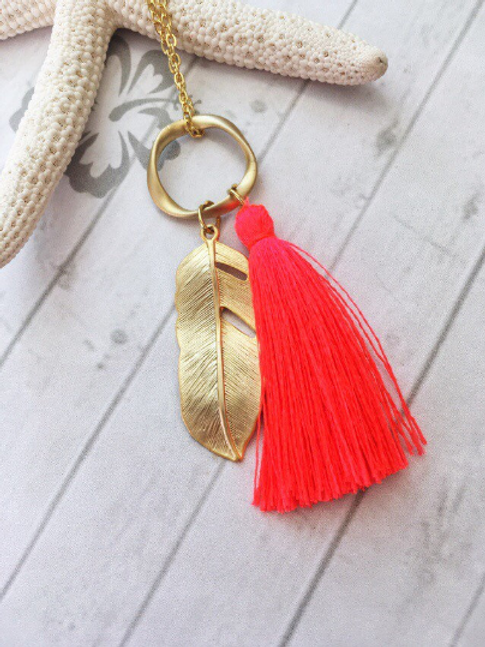 Bright Coral Pink Silk Tassel & Gold Feather Pendant Necklace