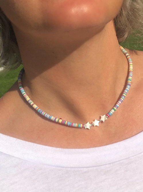 Pearl Stars & Vinyl Disc Bead Necklace
