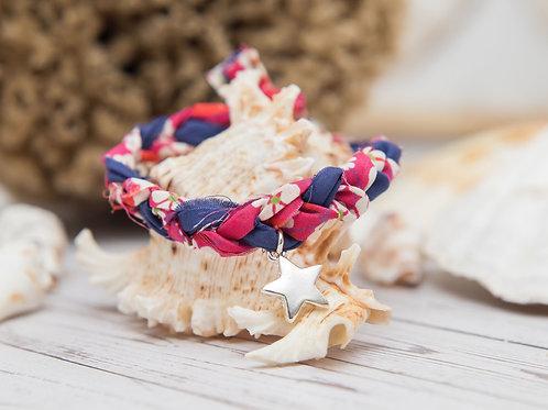Liberty of London Mitsi Print Fabric Single Wrap Bracelet with Star Charm