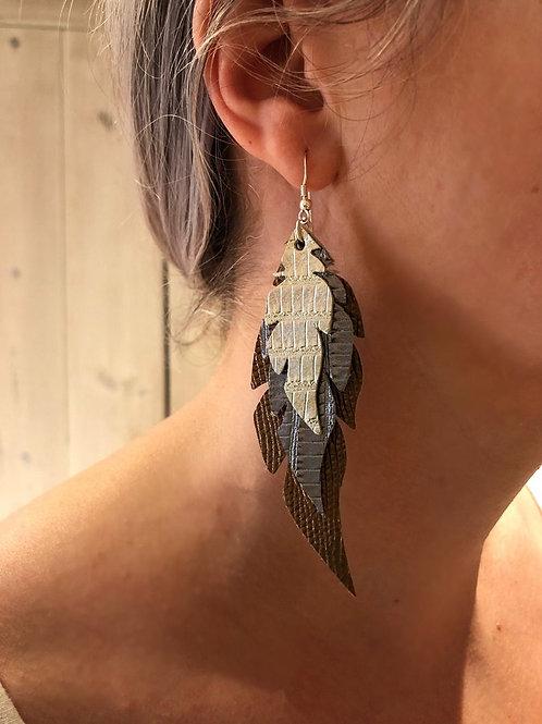 Triple Metallic Leather Feather Earrings