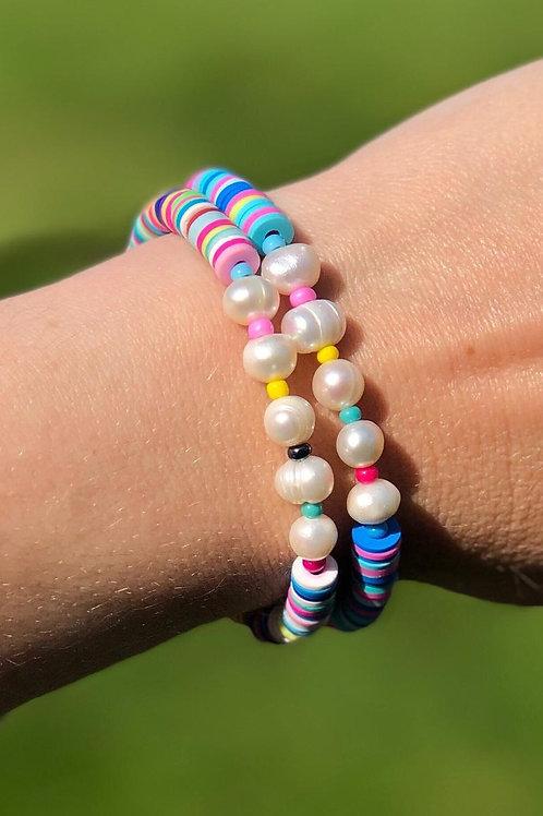 Freshwater Pearls & Bright Heishi Bead Bracelet