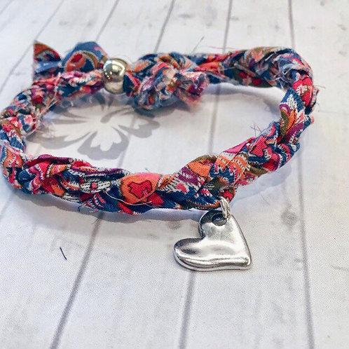 Liberty of London F&I Print Fabric Single Wrap Bracelet with Heart Charm