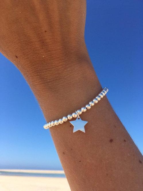 Large Sterling Silver Star Charm Bracelet