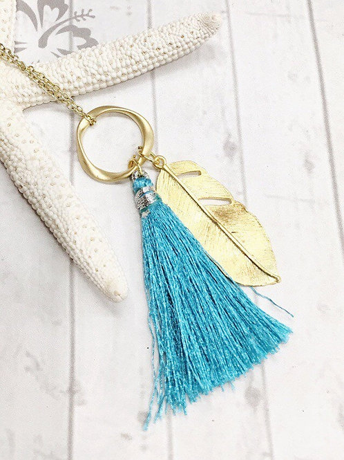 Turquoise Silk Tassel & Gold Feather Pendant Necklace