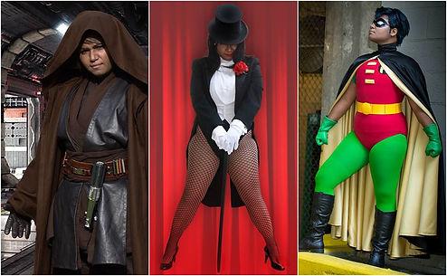 "Left: Anakin Skywlker of ""Star Wars Episode III: Revenge of the Sith"" | Center: Zatanna Zatara | Right: Robin of""Batman: The Animated Series"""