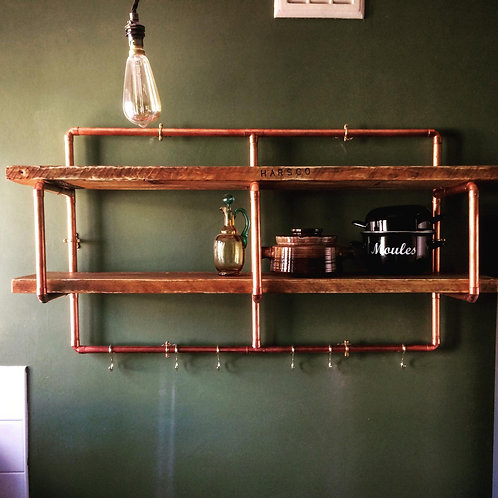 Copper pipe and reclaimed wood shelving unit
