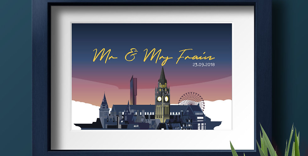 Manchester Skyline Personalised Wedding Venue Art