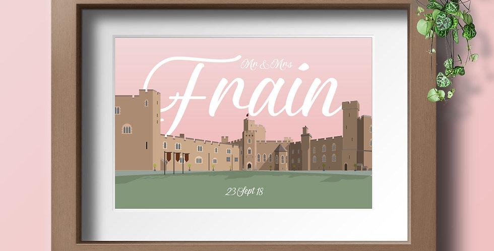 Peckforton Castle Personalised Wedding Venue Art