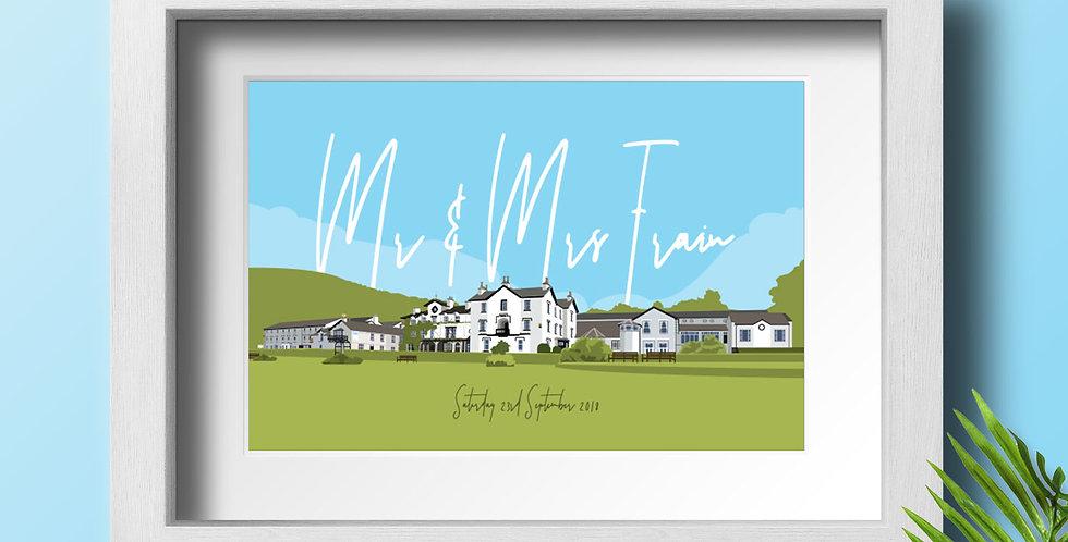 Low Wood Bay Personalised Wedding Venue Art