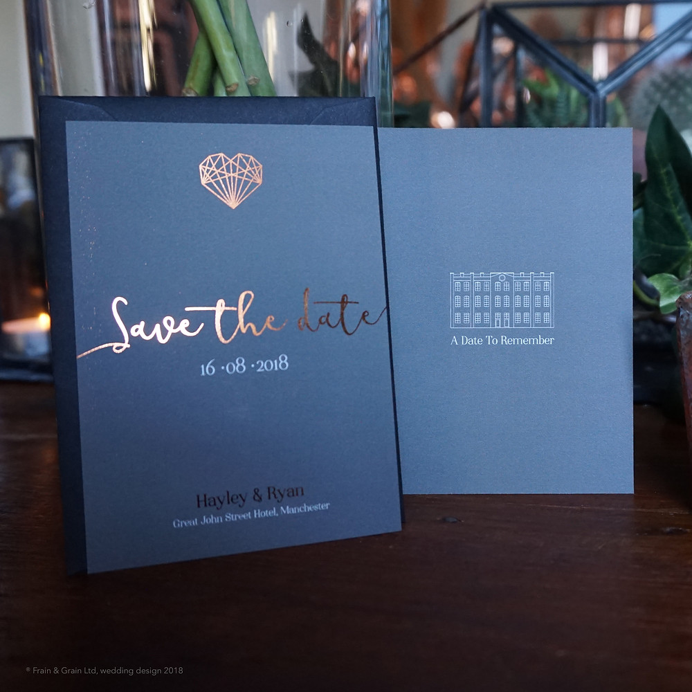 Geometric love save the dates, grey with rose gold foil