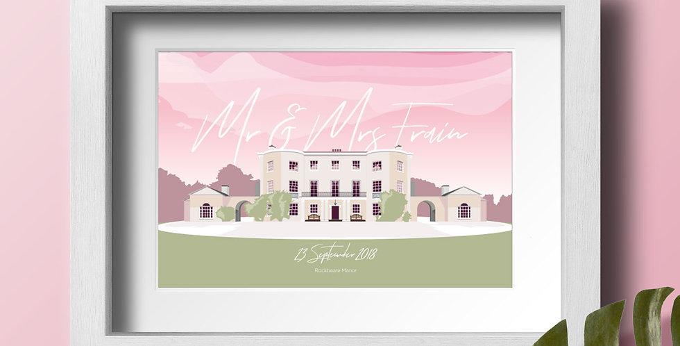 Rockbeare Manor Personalised Wedding Venue Art