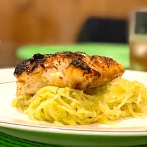 BLACKENED COD with pesto spaghetti squash