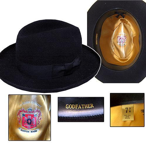 "Vintage Custom Made ""Godfather"" Black Homburg Hat"