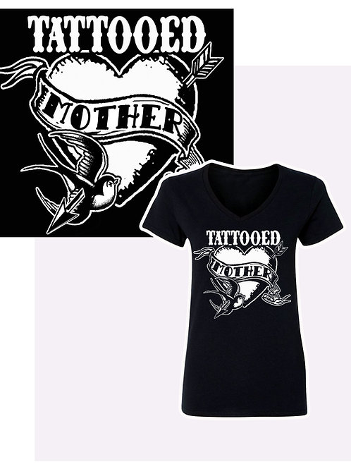 Small-XL Women's Tattooed Mother V-NeckT-Shirt