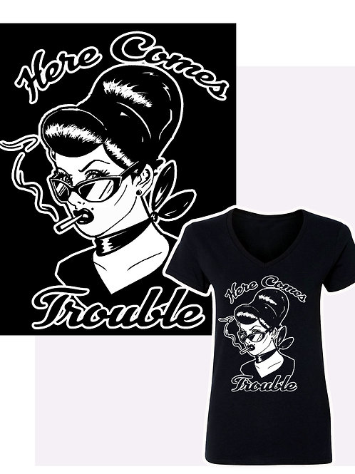 S-XL Women's Here Comes Trouble  V-Neck T-Shirt