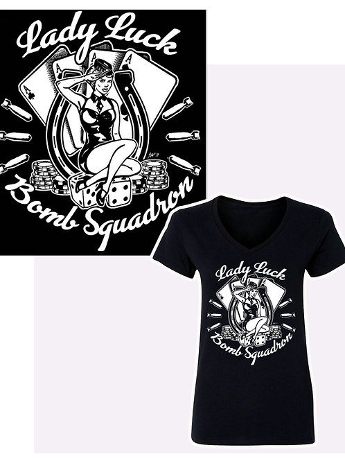 Women's SM-XL Lady Luck Bomber V-Neck T-Shirt