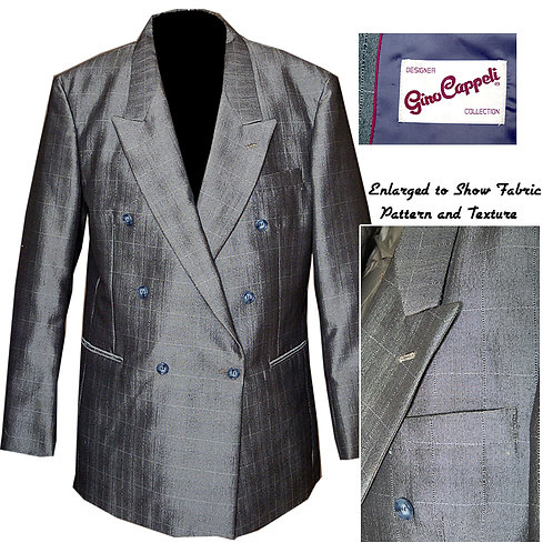 Vintage Silver Cappelli Double Breasted Suit Jacket