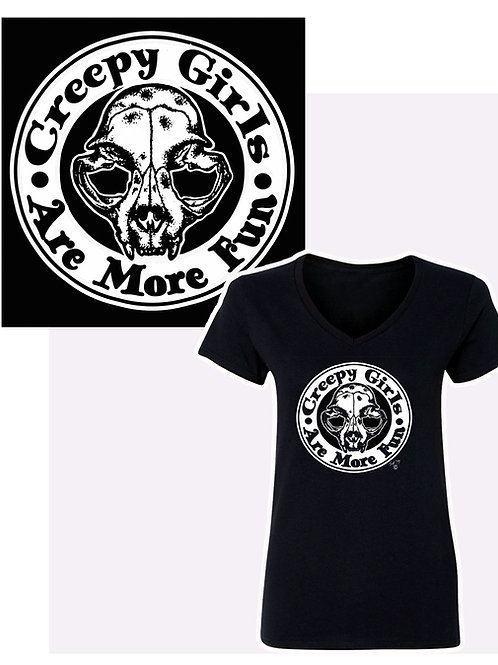 XXL-3XL Women's Creepy Girls V-Neck T-Shirt
