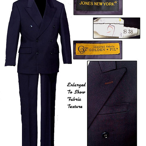 Vintage Inky Midnight Blue Jones New York Double Breasted Suit