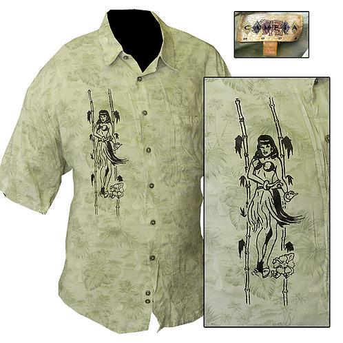 XXL Light Green Hula Girl Beach Shirt