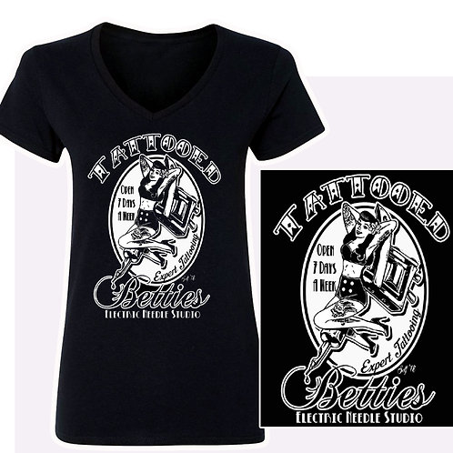 S-XL Women'sTattooed Betties  V-Neck T-Shirt