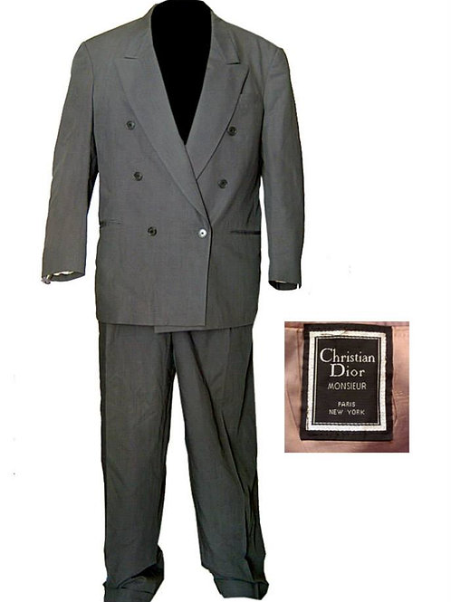 Vintage Chalk Gray Christian Dior Double Breasted Suit