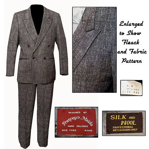 Vintage Gray/Creme/Charcoal Fleck Double Breasted Suit