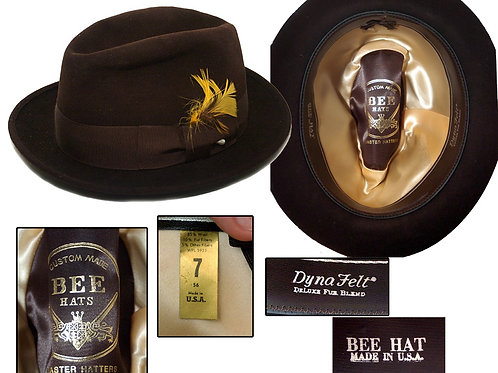 Vintage 1960's Chocolate Brown, Bee Stingy Brim Fedora
