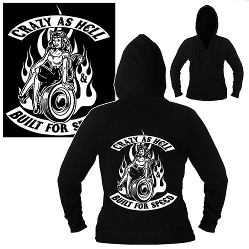 S-XL Unisex Crazy As Hell Built For Speed Hoodie