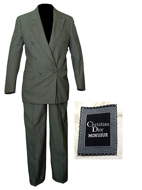 Gray/Green Vintage Double Breasted Christian Dior Suit