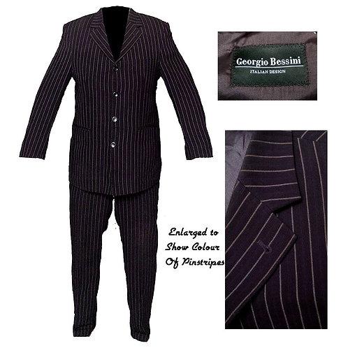 3 Button George Bassini Pinstripe Italian Suit