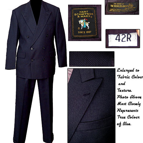 Vintage Midnight Blue Hart Schaffner Marx Double Breasted Suit
