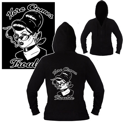 S-XL Unisex Here Comes Trouble Hoodie