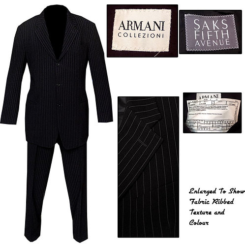 Black Pinstripe Armani 3 Button Mod Suit