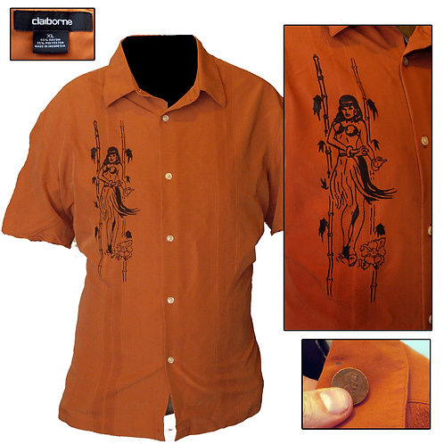 XL Burnt Orange Hula Girl Panel Shirt