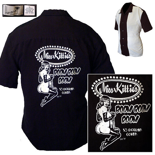 XL Black&White Miss Kittie's Boom Boom Room Havana PanelShirt