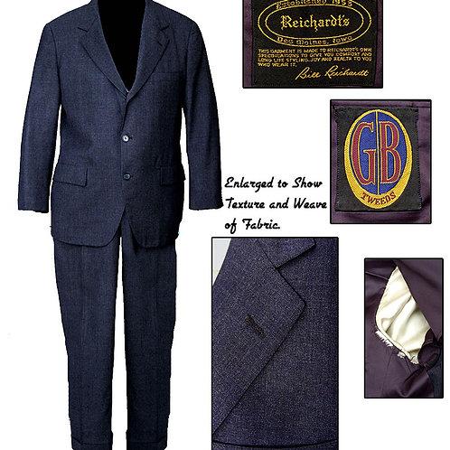 Vintage Dark Blue 50's Reichard's 3 Button Suit