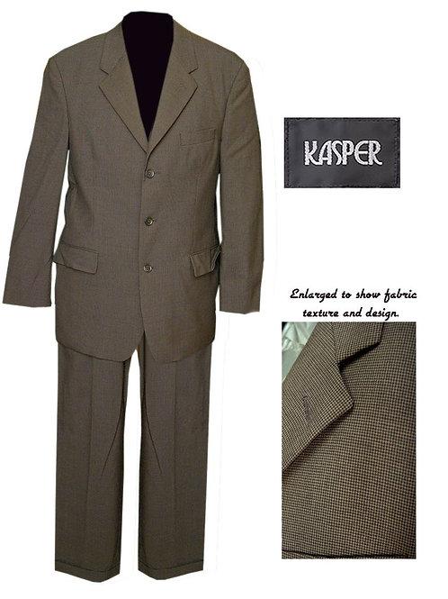 Vintage Olive/Drab Houndstooth Kasper 3 Button Mod Suit