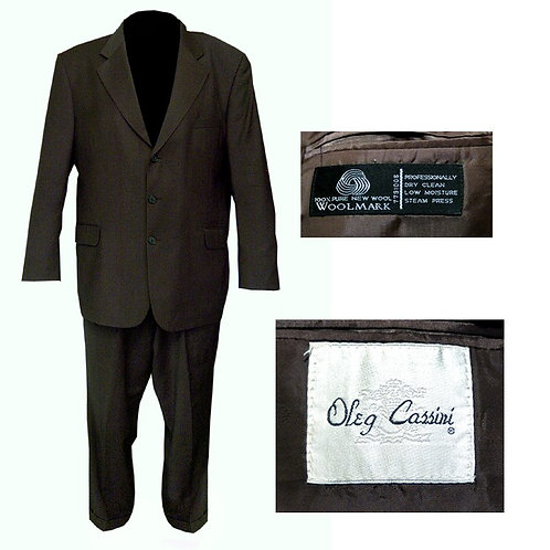 Vintage Dark Olive Green Oleg Cassini 3 Button Mod Suit