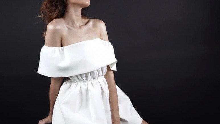 Blanc off shoulder dress