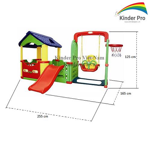 Bộ liên hoàn cầu trượt nhà bóng xích đu có bóng rổ JM804B